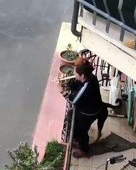 Contre le stress du COVID-19, une italienne joue de la flûte