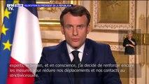 """Emmanuel Macron: """"Dès demain midi et pour quinze jours au moins, les déplacements seront fortement réduits"""""""