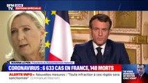 """Marine Le Pen juge que les annonces d'Emmanuel Macron n'ont pas été """"suffisamment claires pour que chacun comprenne qu'il s'agit de confinement"""""""