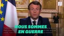"""""""Nous sommes en guerre"""": Macron contre le coronavirus"""