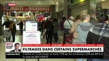 VIRUS - Dans certains supermarchés, un filtrage des clients est réalisé entrainant des files d'attente interminables - VIDEO