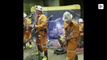 The underground concert of the Canadian band 'The Shaft Bottom Boys'