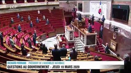 VIRUS - Regardez Richard Ferrand, le président de l'Assemblée nationale, s'exprimer devant un hémicycle quasi vide ce matin - VIDEO