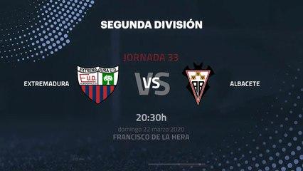 Previa partido entre Extremadura y Albacete Jornada 33 Segunda División
