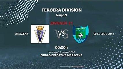 Previa partido entre Maracena y CD El Ejido 2012 Jornada 31 Tercera División