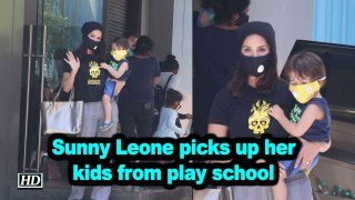 Sunny Leone picks up her kids from play school