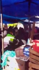 Enfrentamiento entre comerciantes y PMT en San Pedro Scatepéquez.