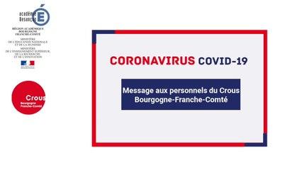 Message aux personnels du Crous Bourgogne-Franche-Comté et mettre