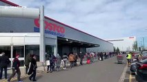 "Insane queues outside UK Costco as customers ignore government warning not to ""panic buy"""