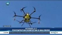 Antisipasi Penyebaran Covid-19, Kawasan Malioboro Disemprot Disinfektan Pakai Drone