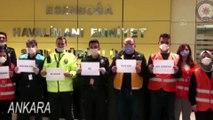 Havalimanı polislerinden sağlık çalışanlarına videolu alkış desteği - ANKARA