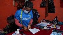 Coronavirus: Young Liberians make African print masks for protection