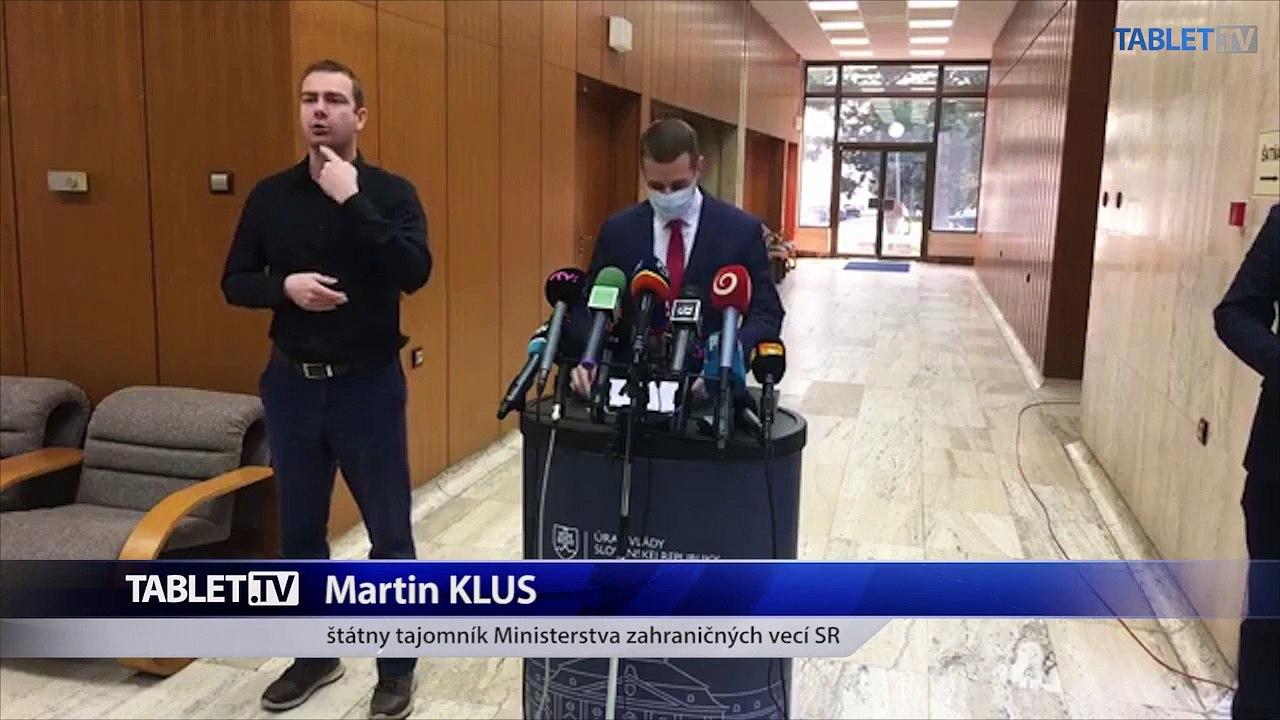 ZÁZNAM: Brífing štátneho tajomníka MZV M. Klusa