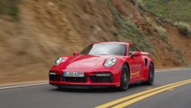 The new Porsche 911 Turbo S Cabriolet in Guards Red Driving Video