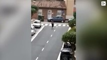 A woman from Valladolid, Spain, skips the quarantine to dance sevillanas on the street