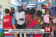 La Victoria: ONG entrega alimentos a extranjeros en el terminal terrestre