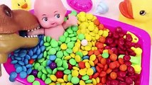 Learn Colors Dinosaur toy Baby Doll MandMs Chocolate Bath Time and Ice Cream Cups Surprise Toys