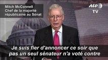 """Coronavirus: """"Pas un seul sénateur n'a voté contre"""" le plan de relance américain"""