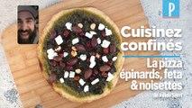 Cuisinez confinés : la recette de la pizza aux épinards en boîte et feta de Julien Serri