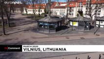 Drone footage shows the empty streets of Europe's locked down cities