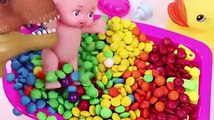 Learn Colors Baby Doll Bath Time MandMs Chocolate and Ice Cream Cups Surprise Toys