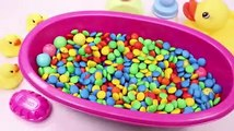 Learn Colors Baby Doll Bath Time MandMs Chocolate and Surprise Toys Play