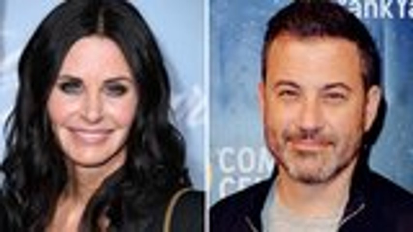 Jimmy Kimmels Quizzes Courteney Cox on 'Friends' Trivia With His Superfan Relative | THR News
