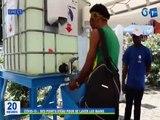 RTG / Covid 19 - Des points d'eau déposés à chaque rue pour se laver les mains, cette initiative a été mise en place par la SEEG