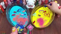 Mixing Makeup Into Clear Slime Yello Slime vs. Blue Slime Satisfying Slime Video Colors Slime For Kids