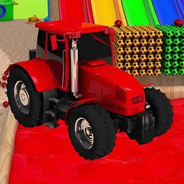 Learn Colors with Street Vehicle VS Surprise Tractor in Magic Slide Pool Pretend Play for Kids