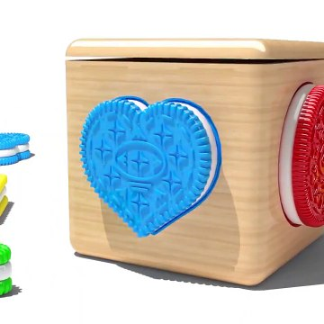 Learn Shapes and Colors with 3D Wooden Box and Cookies for Kids