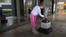 Handy robot dispenses sanitiser to stop coronavirus from spreading