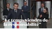 """Emmanuel Macron : """"Celles et ceux qui cherchent déjà à faire des procès sont irresponsables"""""""