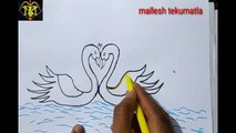 How to draw a swan, swan drawing, Basic swan drawing, simple swans drawing in water, swan paiting