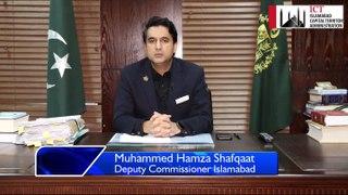 Covid-19, DC islamabad Hamza Shafqaat msg for citizens