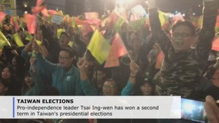 Pro-independence Tsai Ing-wen re-elected in Taiwan presidential vote