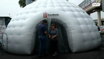 Inflatable disinfection tunnels set up outside metro stations to curb COVID-19 spread
