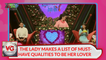 THE LADY MAKES A LIST OF MUST-HAVE QUALITIES TO BE HER LOVER
