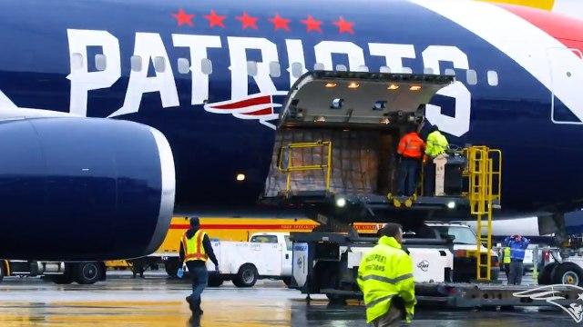 New England Patriots Plane Brings One Million Masks Home