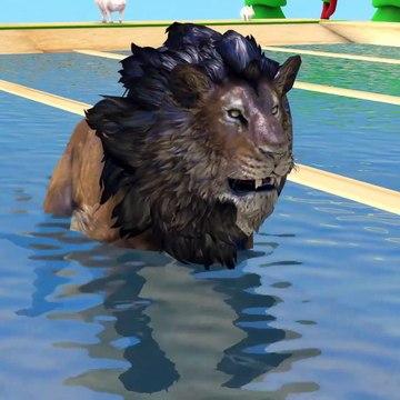Farm animals transform into wild animals in piscine