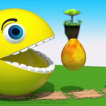 Pacman Fun Play on Desert Island, Eats Fruits and slides down a Magic Wood Slide