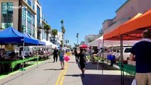 Bustling Los Angeles farmers market is socially distant with mandatory masks amid coronavirus crackdown