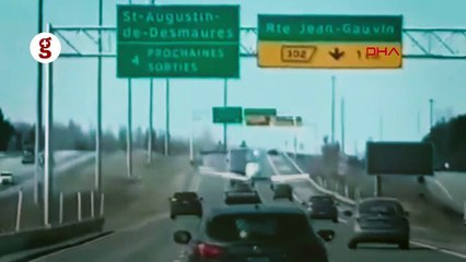 Kanada'da eğitim uçağının otoyola iniş anı kamerada