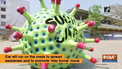 سيارة على شكل فيروس كورونا تتجول في الهند
