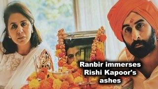 Ranbir immerses Rishi Kapoor's ashes