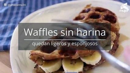 Waffles sin harina con banana y canela: quedan esponjosos