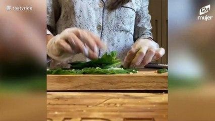 Cena fit o almuerzo saludable: wrap vegano de acelga