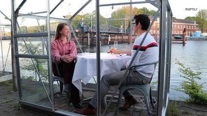 Em Amsterdã restaurantes usam estufas de vidro para oferecer uma refeição com distanciamento social