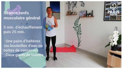 Paris chez vous : Isabelle vous propose 25 minutes de renforcement musculaire général avec gants de toilette