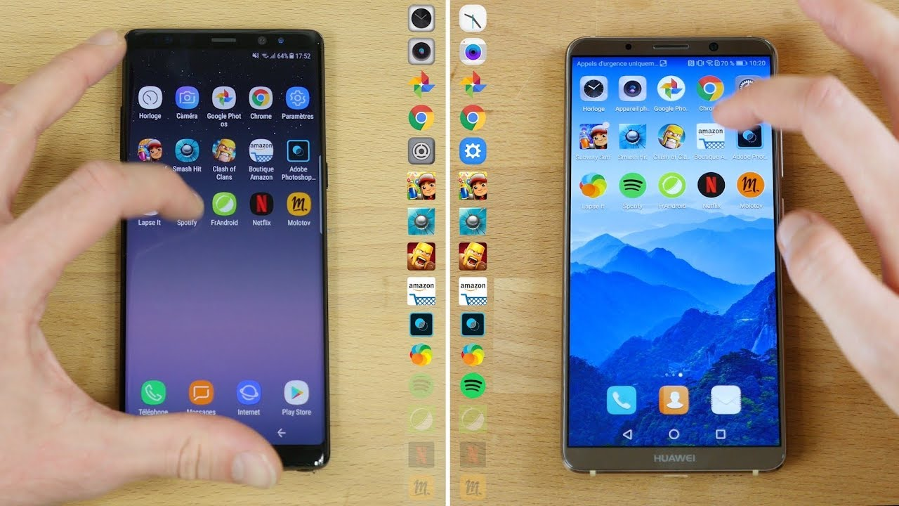 Speedtest Huawei Mate 10 Pro vs Galaxy Note 8